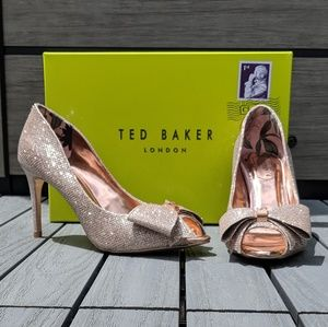 Ted Baker 'Nualam' sparkly rose gold heels w/bow